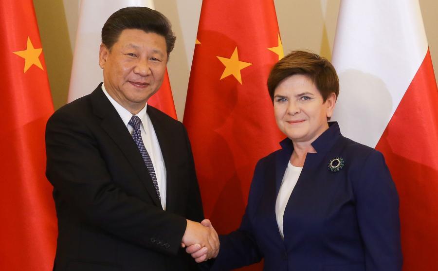 Premier Beata Szydło i przewodniczący Chińskiej Republiki Ludowej Xi Jinping, czerwiec 2016
