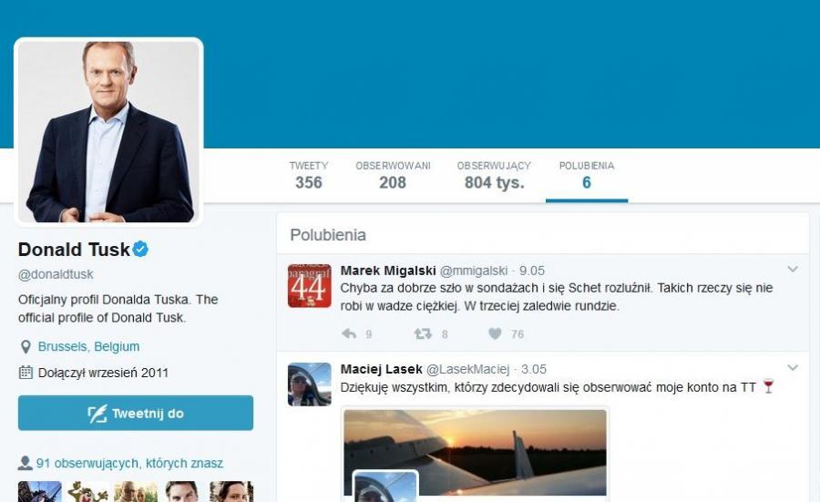 Donald Tusk polubił wpis Migalskiego