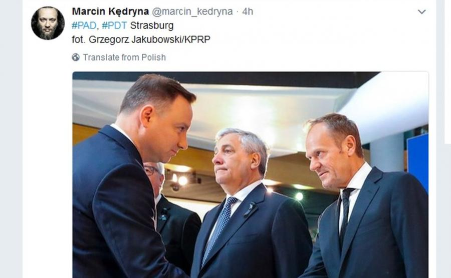 Andrzej Duda i Donald Tusk / zdjęcie zamieszczone przez Marcina Kędrynę