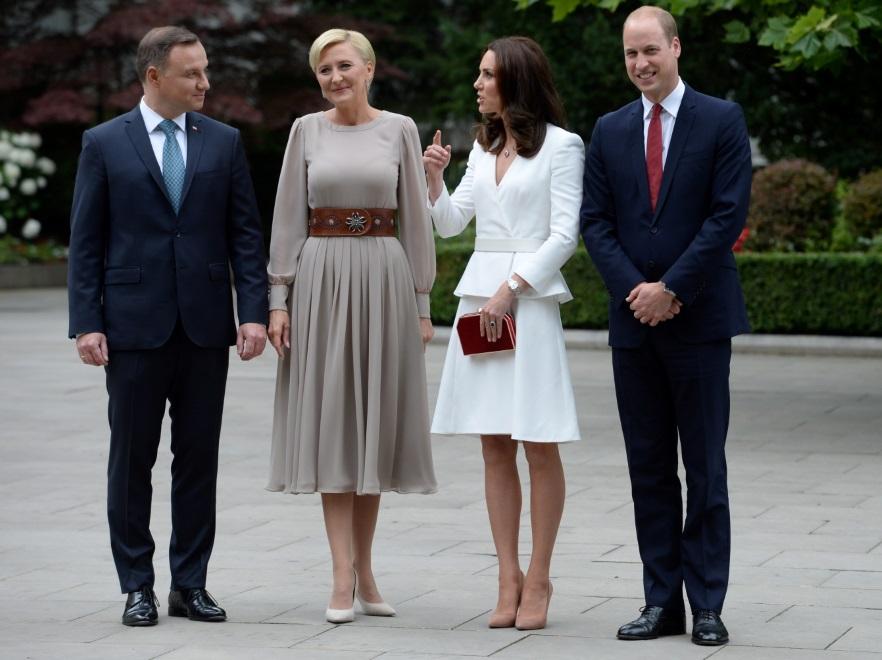 Andrzej Duda i Agata Kornahauser-Duda oraz księżna Catherine i książę William