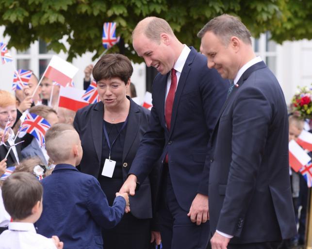 Książę William z prezyentem Andrzejam Dudą