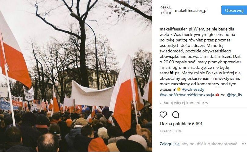 Wpis Kasi Tusk na Instagramie