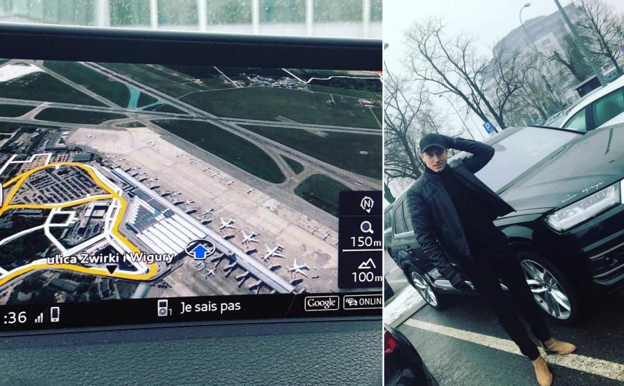 Robert Lewandowski okazuje się być bardzo romantycznym facetem - ze zdjęcia można wywnioskować, że w czasie jazdy słuchał m.in. Je sais pas Céline Dion. Widok Okęcia z lotu ptaka - takie rzeczy w nawigacji na pokładzie Audi SQ7