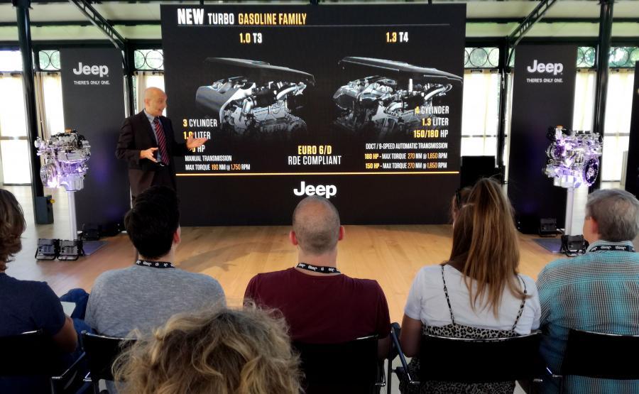 Paolo Pallotti z FCA Powertrain podczas prezentacji nowego Jeepa Renegade na torze testowym w Balocco