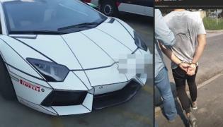 Lamborghini aventador i złodziej zatrzymany przez policję w Warszawie