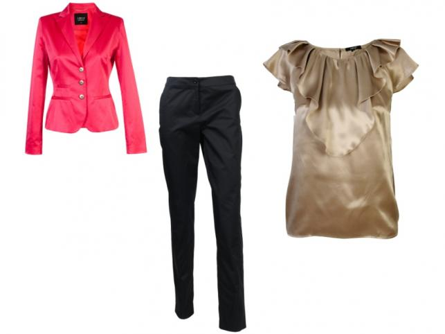 Jak się ubrać na komunię? Propozycje dla kobiet: bluzka i żakiet Simple, spodnie Solar