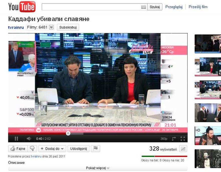 Dziennikarze telewizji Dożd usłyszeli na nagraniu ostatnich chwil Kadafiego język rosyjski