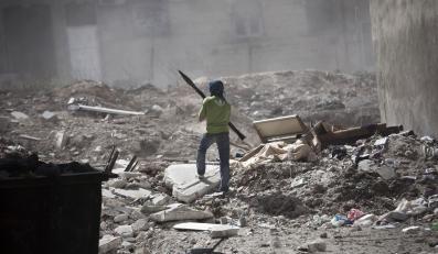 Zniszczoen wojną syryjskie miasto