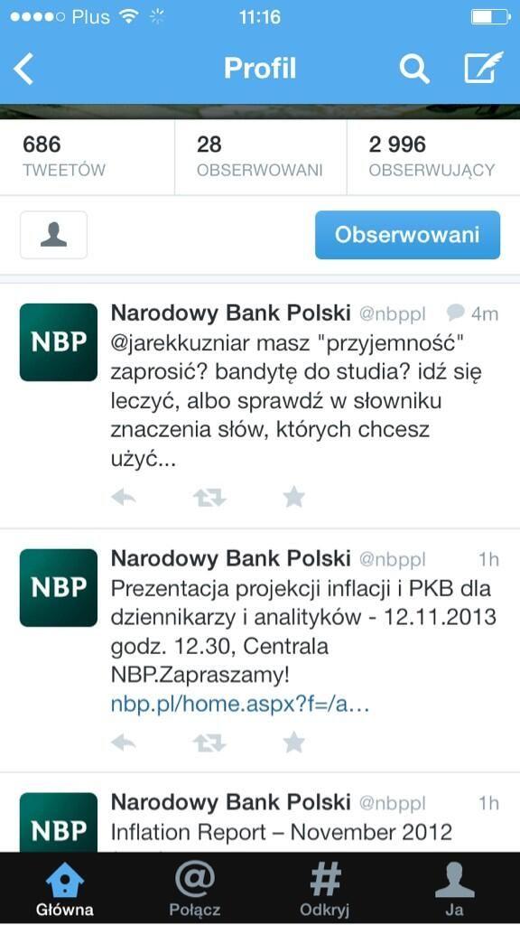 Zrzut ekranowy z profilu NBP na Twitterze