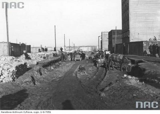 Budowa ulicy Antoniego Abrahama i Piotra Wysockiego w Gdyni - 1937 rok