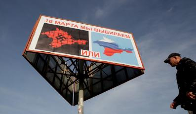 Plakat zachęcający do udziału w referendum na Krymie