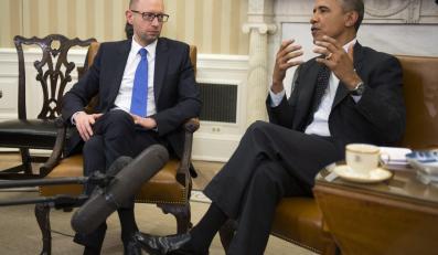 Arsenij Jaceniuk i Barack Obama