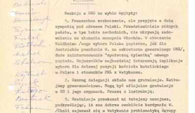 """Depesza Henryka Jaroszka do Warszawy o reakcji w ONZ: """"powszechne zaskoczenie, ale przyjęte z dużą sympatią pod adresem Polski"""", 16 października 1978 r."""