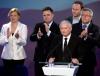 Jarosław Kaczyński przemawia po ogłoszeniu sondażowych wyników eurowyborów