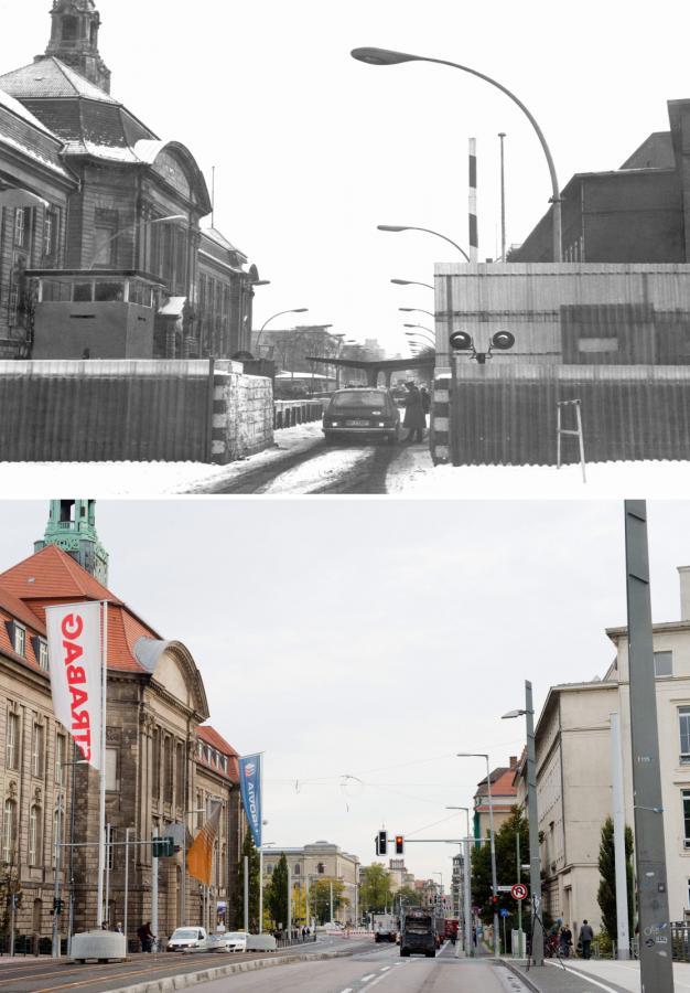 Berlin, Invalidenstrasse, miejsce, w którym stał mur berliński - dziś i w 1971 roku