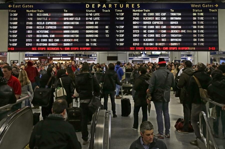 Tłumy na dworcu kolejowym w Nowym Jorku
