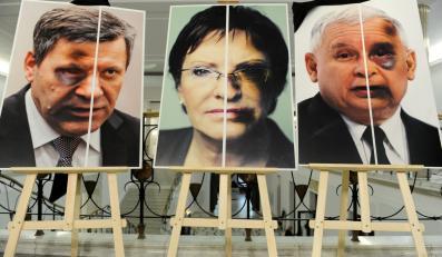 Plakat z Januszem Piechocińskim, Ewą Kopacz i Jarosławem Kaczyńskim