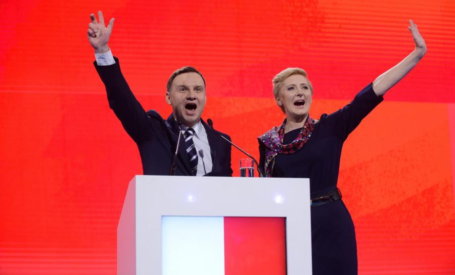 Andrzej Duda z małżonką podczas konwencji PiS