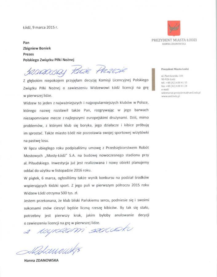 List Hanny Zdanowskiej do Zbigniewa Bońka
