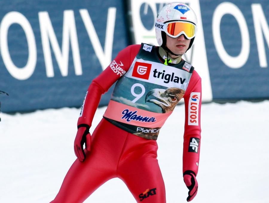 Kamil Stoch podczas kwalifikacji w Planicy. Jutro w Słowenii odbędą się zawody Pucharu Świata w lotach narciarskich na skoczni HS-225.