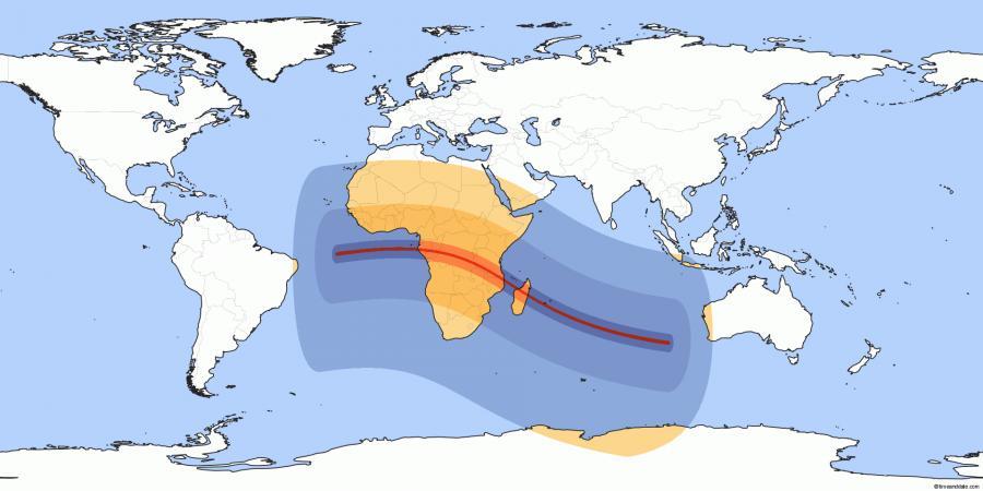 Mapa zasięgu zaćmienia Słońca 1 września 2016 roku / timeanddate.com