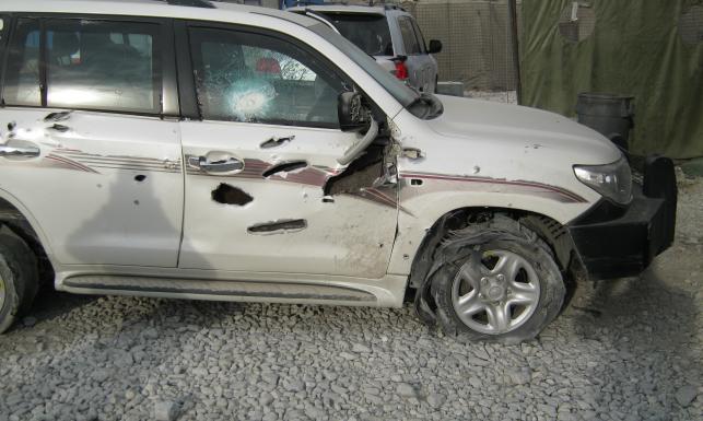 TYLKO W DZIENNIK.PL: Tak wygląda toyota po zamachu na kolumnę BOR. ZDJĘCIA