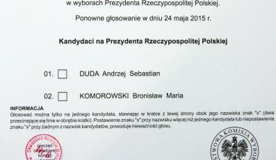 Karta do głosowania w wyborach prezydenckich