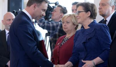 Andrzej Duda, premier Ewa Kopacz, pierwsza prezes Sądu Najwyższego Małgorzata Gersdorf oraz prezes Trybunału Konstytucyjnego Andrzej Rzepliński podczas uroczystości