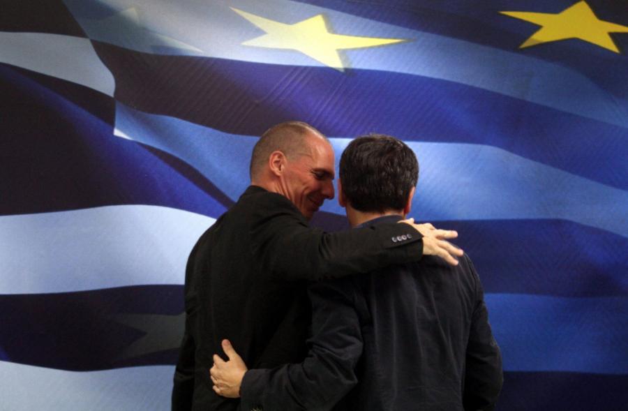 Janis Warufakis, były minister finansów Grecji, i jego następca Euklides Tsakalotos