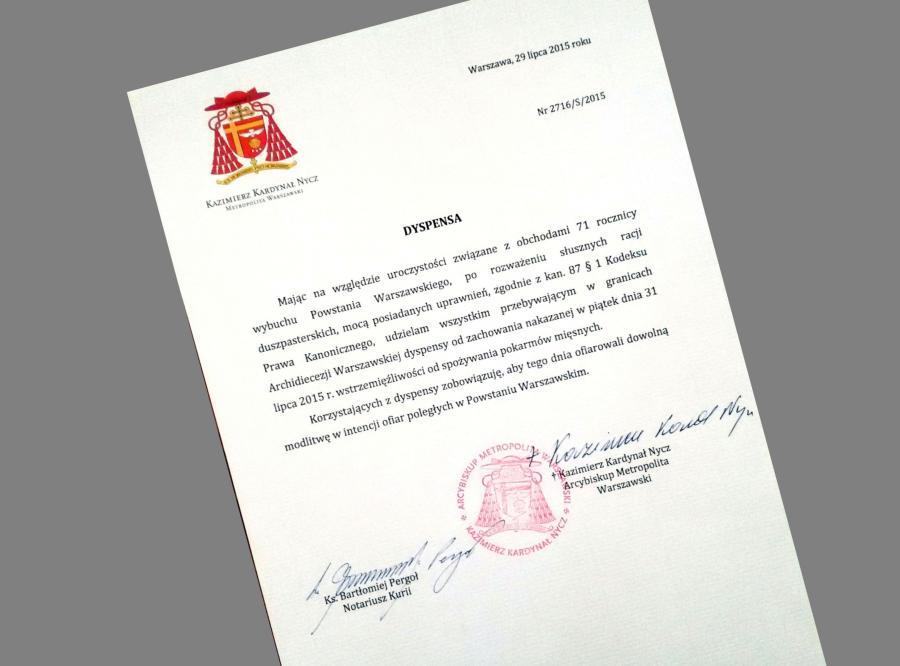 Dekret dotyczący dyspensy, jaki wydał kardynał Kazimierz Nycz