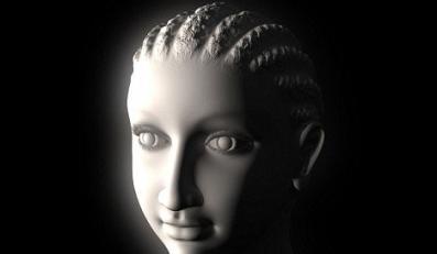 Portrety pokazują kobietę o wydatnych kościach policzkowych i pełnych ustach