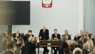 Marek Kuchciński, Joachim Brudziński, Beata Szydło, Jarosław Kaczyński, Mariusz Błaszczak, Stanisław Karczewski, Jarosław Gowin, Adam Lipiński