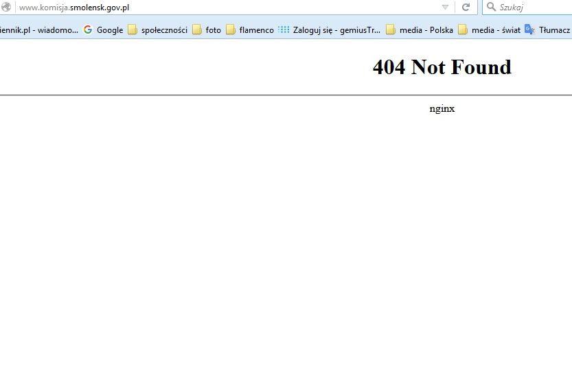 Błąd 404 na stronie fakty.smolensk.gov.pl