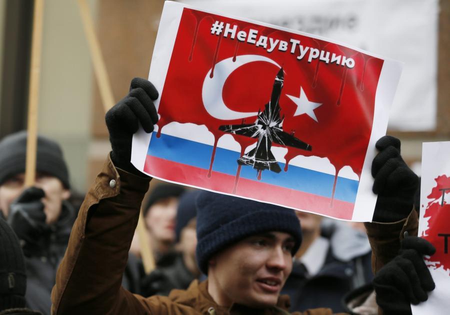Protest przed amabasadą Turcji w Moskwie