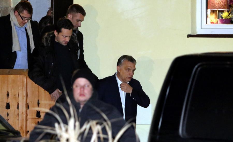 Szef węgierskiego FIDESZ-u, premier Węgier Viktor Orban po spotkaniu z prezesem PiS Jarosławem Kaczyńskim