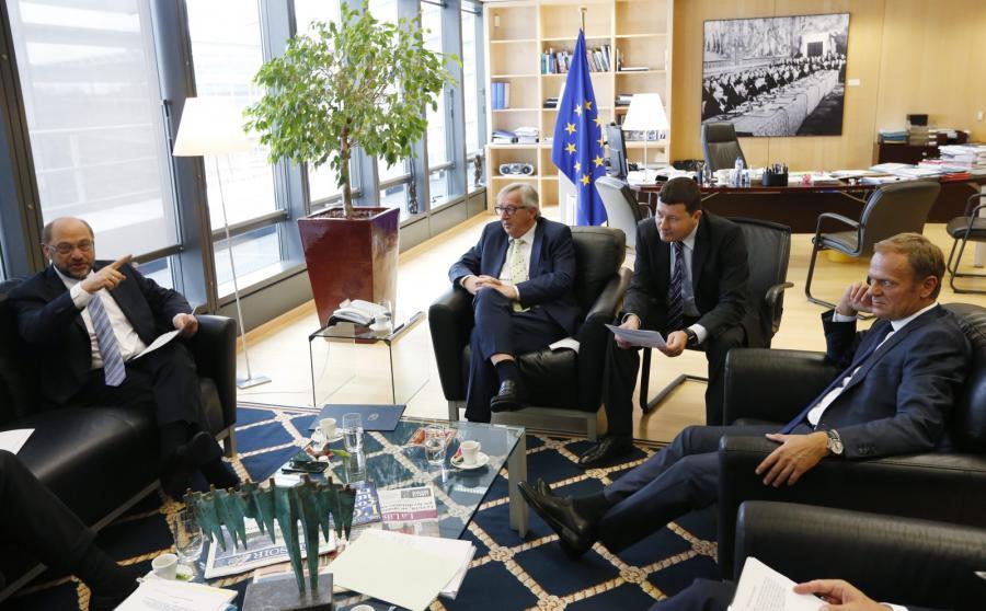 Przewodniczący Komisji Europejskiej Jean-Claude Juncker, szef Rady Europejskiej Donald Tusk, szef Parlamentu Europejskiego Martin Schulz oraz premier Holandii Mark Rutte