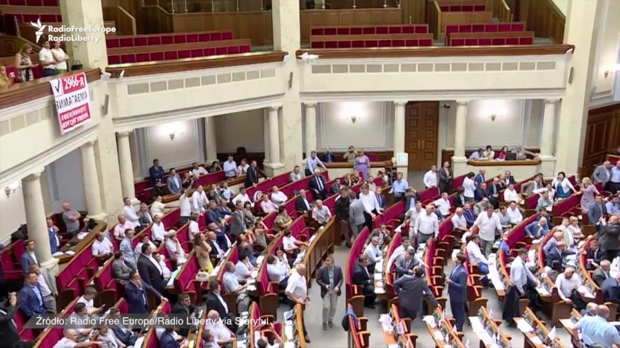 Dron na obradach ukraińskiego parlamentu