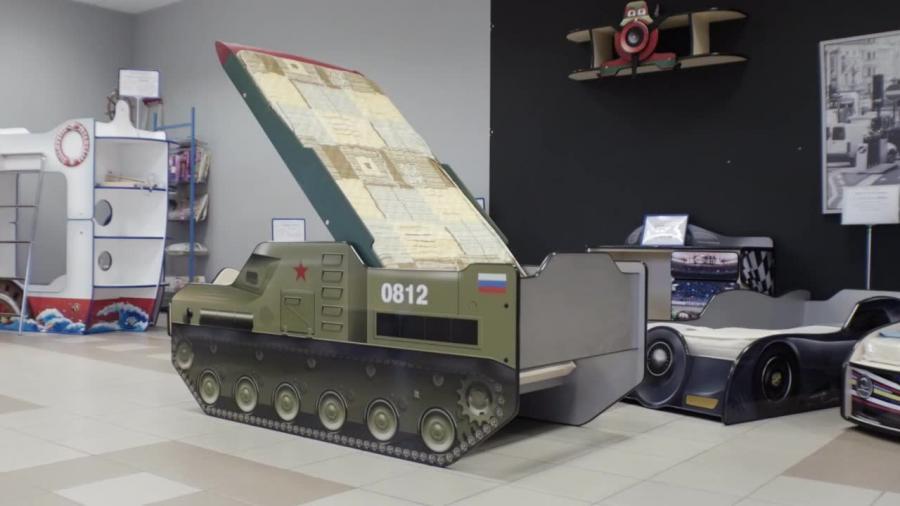 Łóżeczko dziecięce w kształcie wyrzutni rakiet BUK
