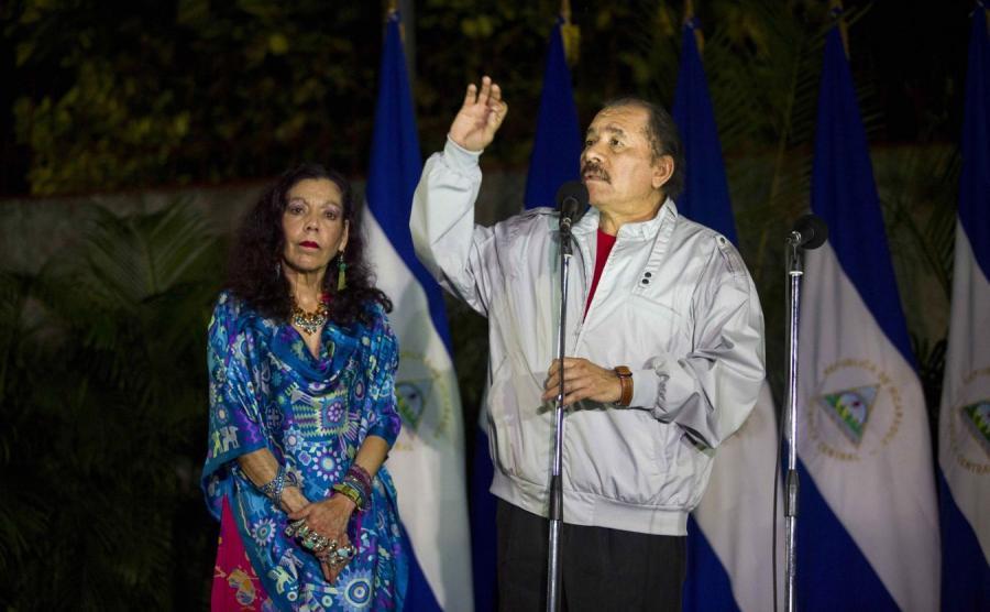 Daniel Ortega z małżonką