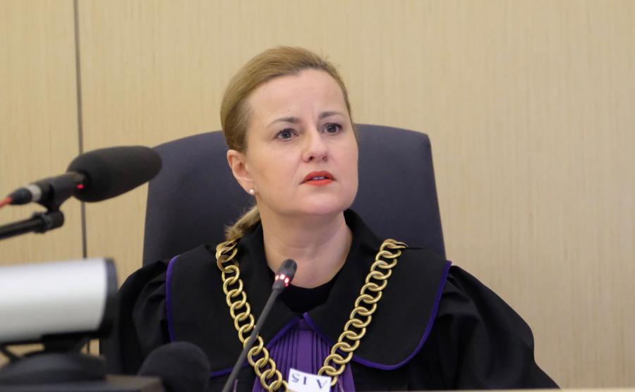 Przewodnicząca składu sędziowskiego Magdalena Grzybek na sali rozpraw