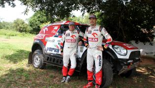 Jakub Przygoński (P) z pilotem Tomem Colsoulem (Mini All4 Racing)