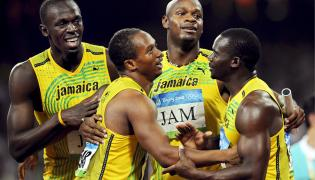 Usain Bolt, Michael Frater, Asafa Powell i Nesta Carter