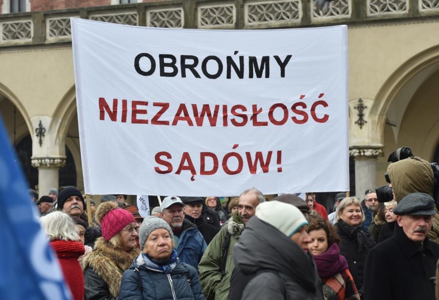 KOD protest w Krakowie