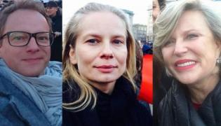 Maciej Stuhr, Magdalena Cielecka i Krystyna Janda na Strajku Kobiet